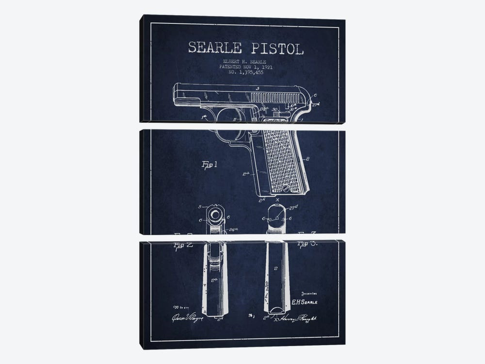 Searle Pistol Navy Blue Patent Blueprint by Aged Pixel 3-piece Canvas Wall Art