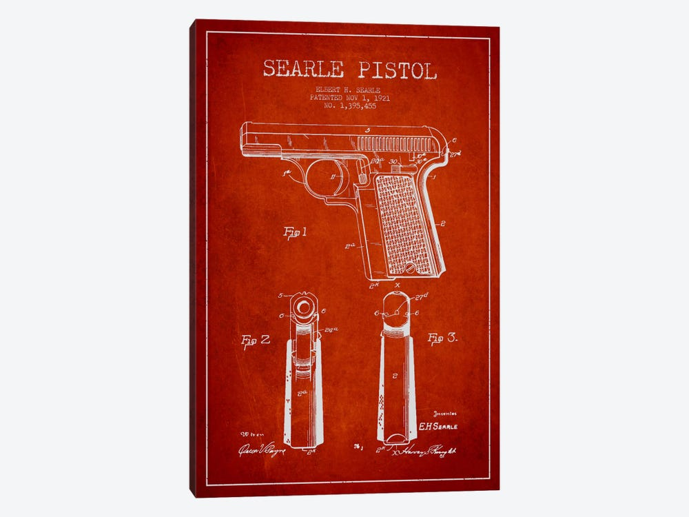 Searle Pistol Red Patent Blueprint by Aged Pixel 1-piece Art Print