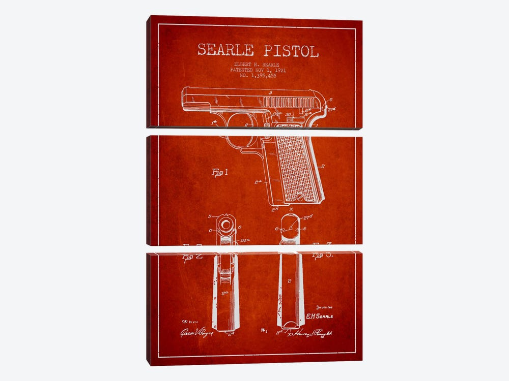 Searle Pistol Red Patent Blueprint by Aged Pixel 3-piece Canvas Art Print