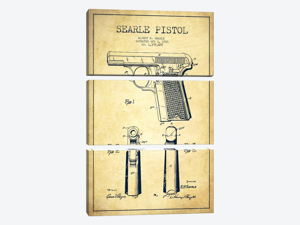 Searle Pistol Vintage Patent Blueprint 3-piece Canvas Artwork