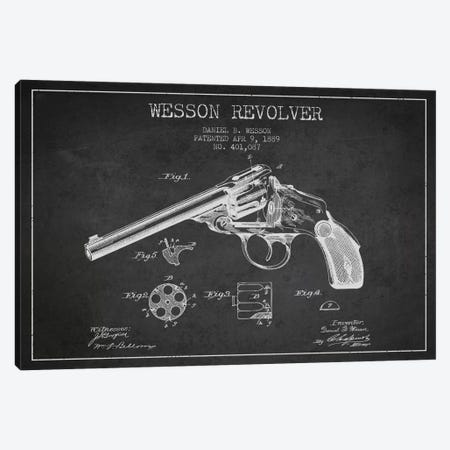 Wesson Revolver Charcoal Patent Blueprint Canvas Print #ADP1309} by Aged Pixel Art Print