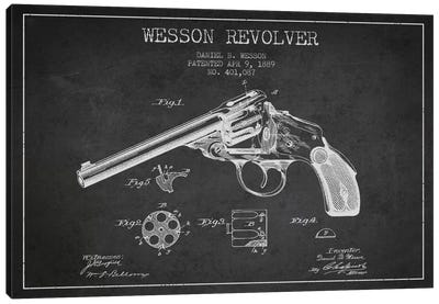 Wesson Revolver Charcoal Patent Blueprint Canvas Art Print