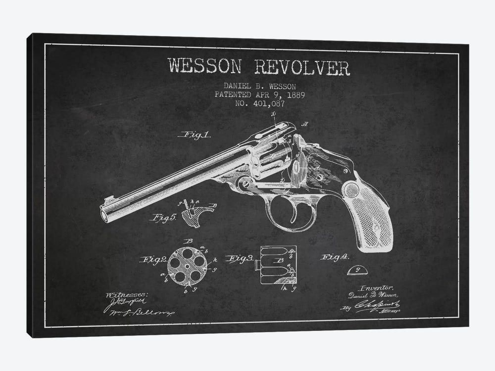 Wesson Revolver Charcoal Patent Blueprint by Aged Pixel 1-piece Canvas Art Print