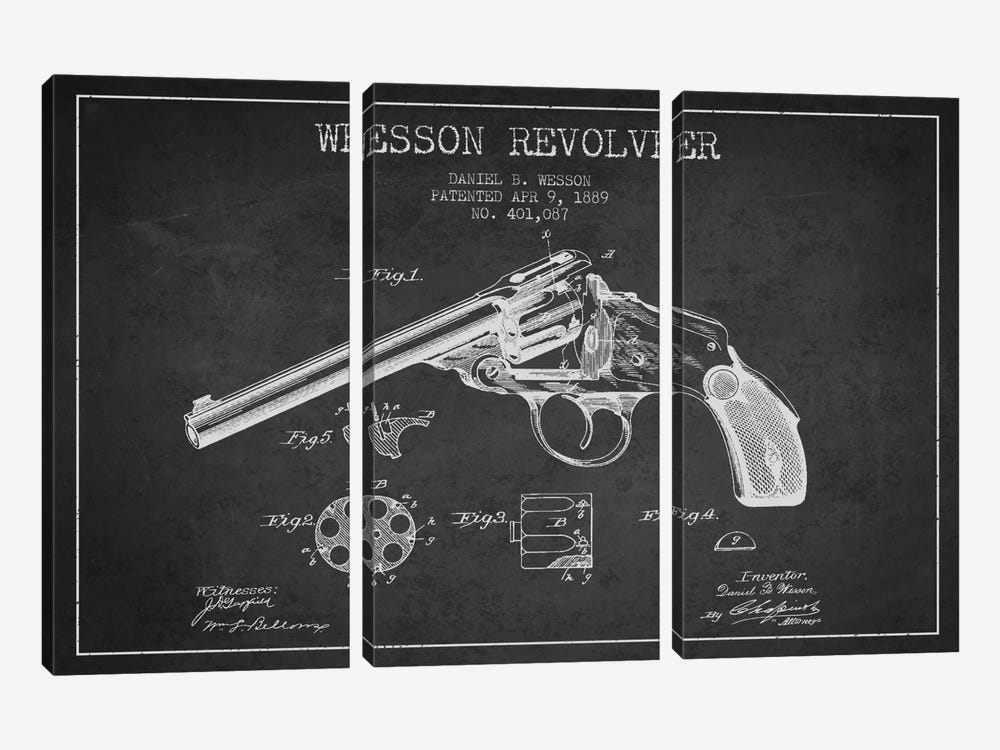 Wesson Revolver Charcoal Patent Blueprint by Aged Pixel 3-piece Canvas Art Print
