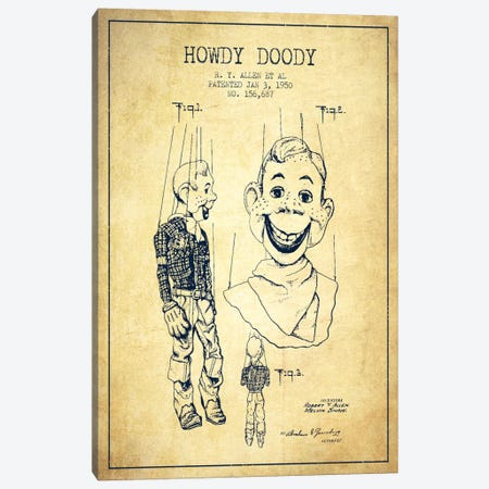 Howdy Doody Vintage Patent Blueprint Canvas Print #ADP130} by Aged Pixel Canvas Art Print