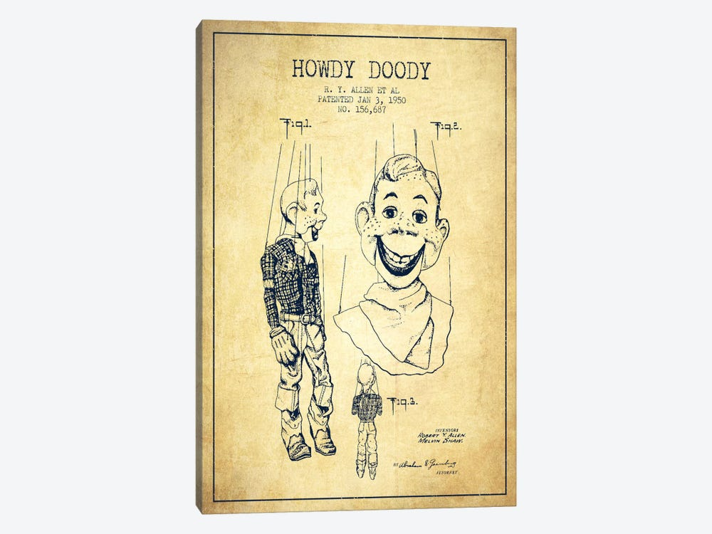 Howdy Doody Vintage Patent Blueprint by Aged Pixel 1-piece Canvas Print