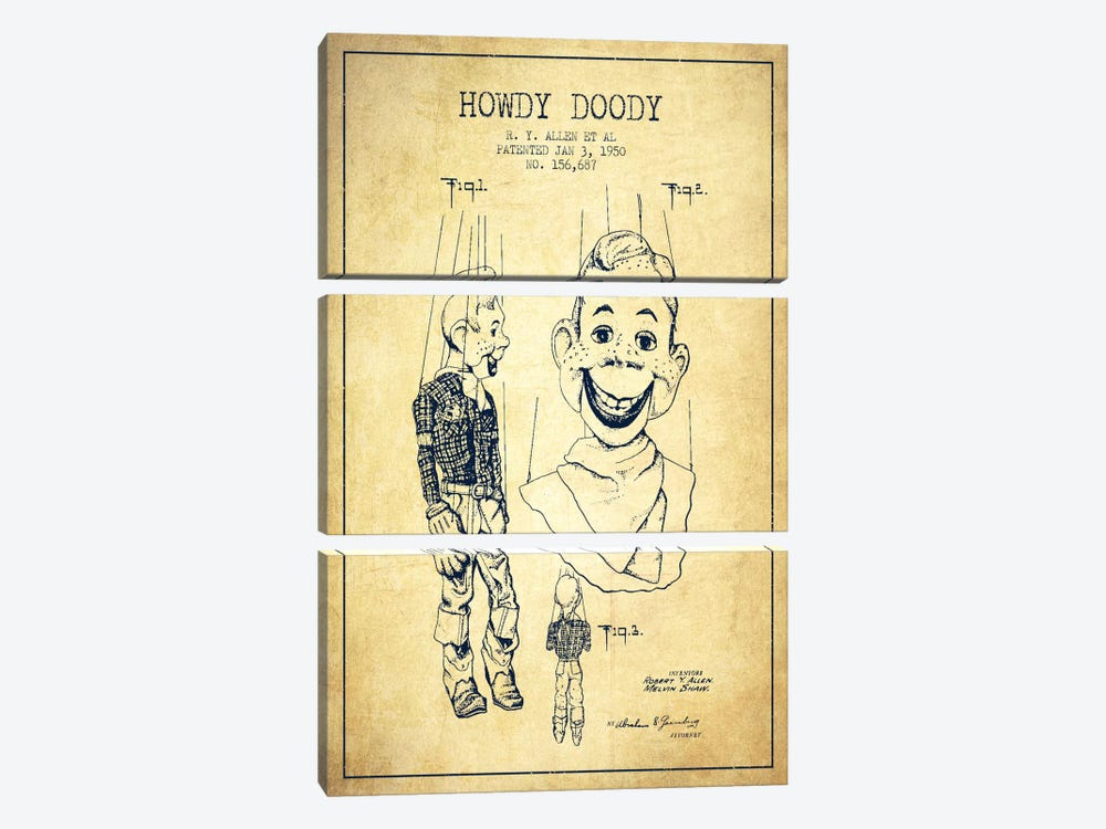 Howdy Doody Vintage Patent Blueprint by Aged Pixel 3-piece Canvas Art Print