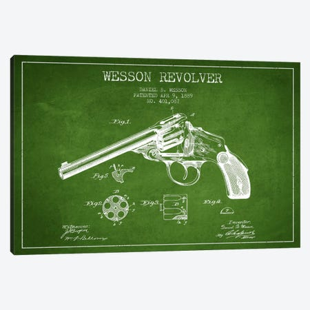 Wesson Revolver Green Patent Blueprint Canvas Print #ADP1310} by Aged Pixel Canvas Wall Art