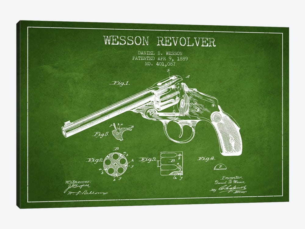 Wesson Revolver Green Patent Blueprint by Aged Pixel 1-piece Canvas Art Print