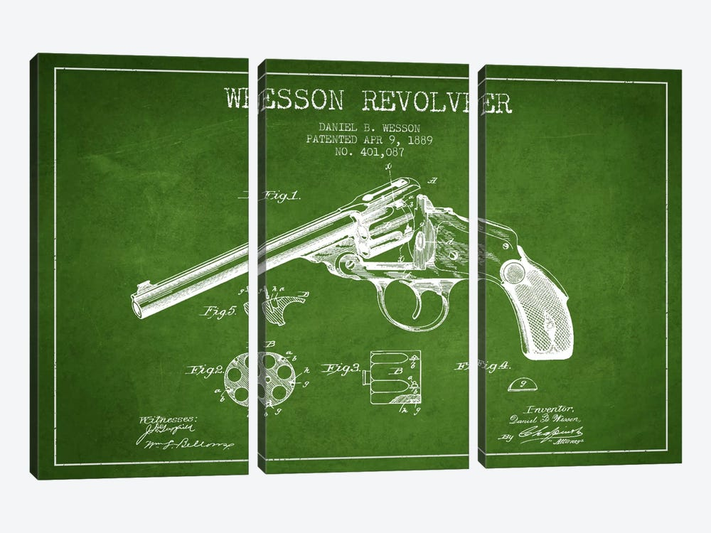 Wesson Revolver Green Patent Blueprint by Aged Pixel 3-piece Canvas Print