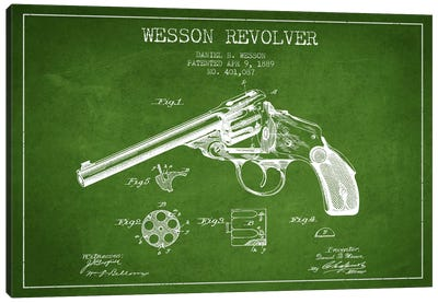 Wesson Revolver Green Patent Blueprint Canvas Art Print