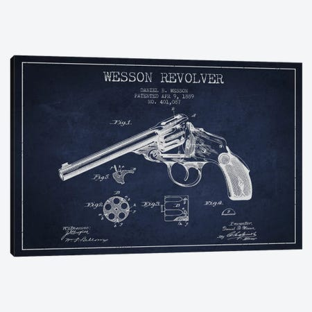 Wesson Revolver Navy Blue Patent Blueprint Canvas Print #ADP1311} by Aged Pixel Canvas Artwork