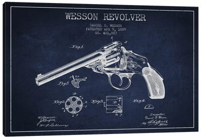 Wesson Revolver Navy Blue Patent Blueprint Canvas Art Print