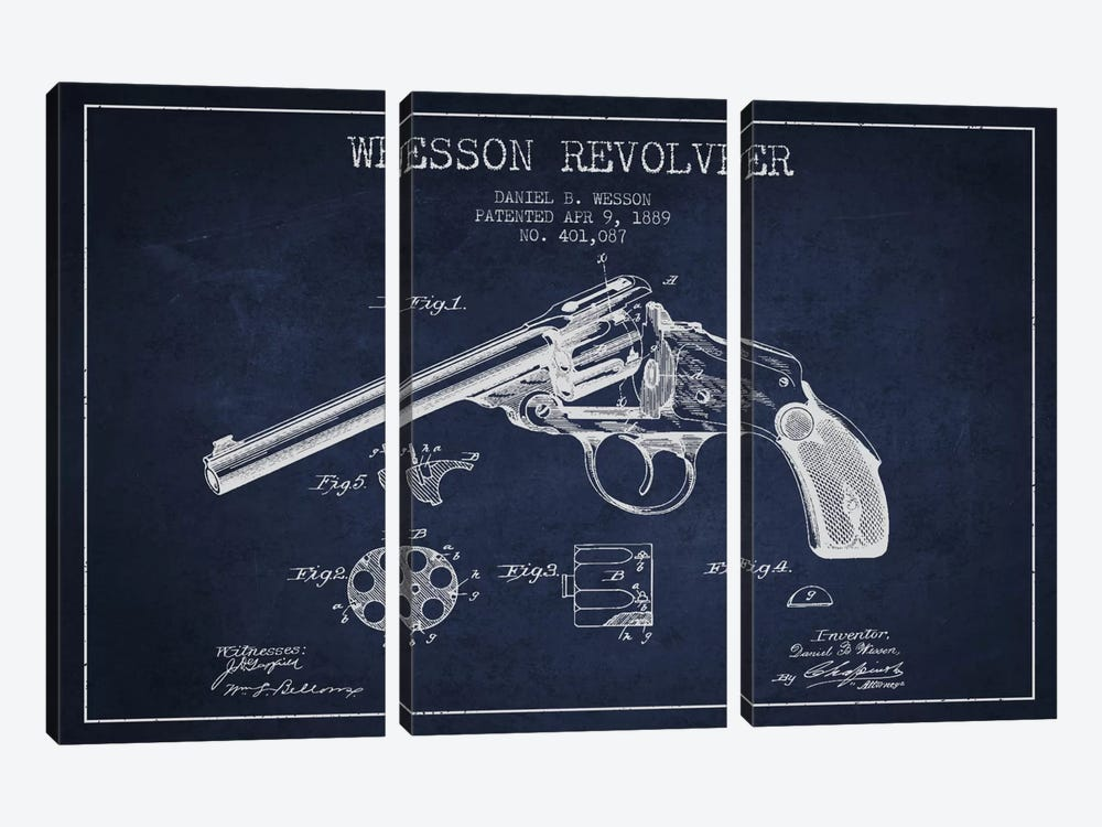 Wesson Revolver Navy Blue Patent Blueprint by Aged Pixel 3-piece Canvas Wall Art