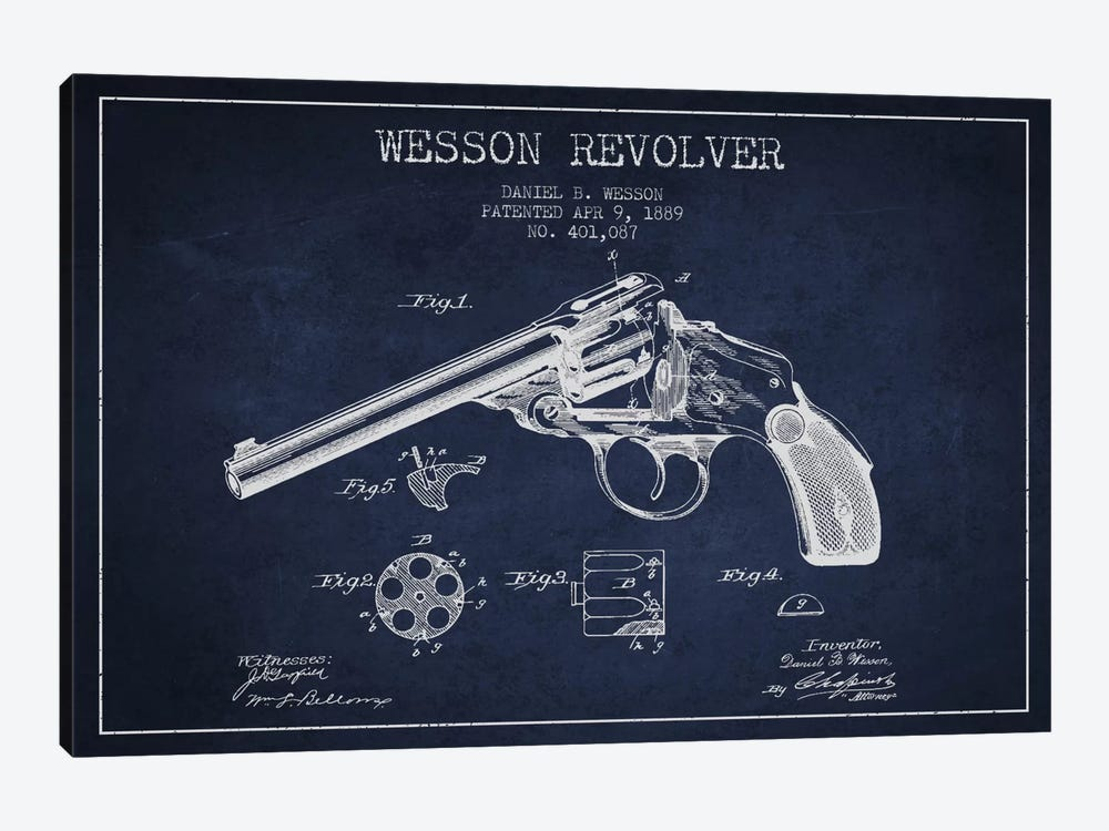 Wesson Revolver Navy Blue Patent Blueprint by Aged Pixel 1-piece Canvas Wall Art