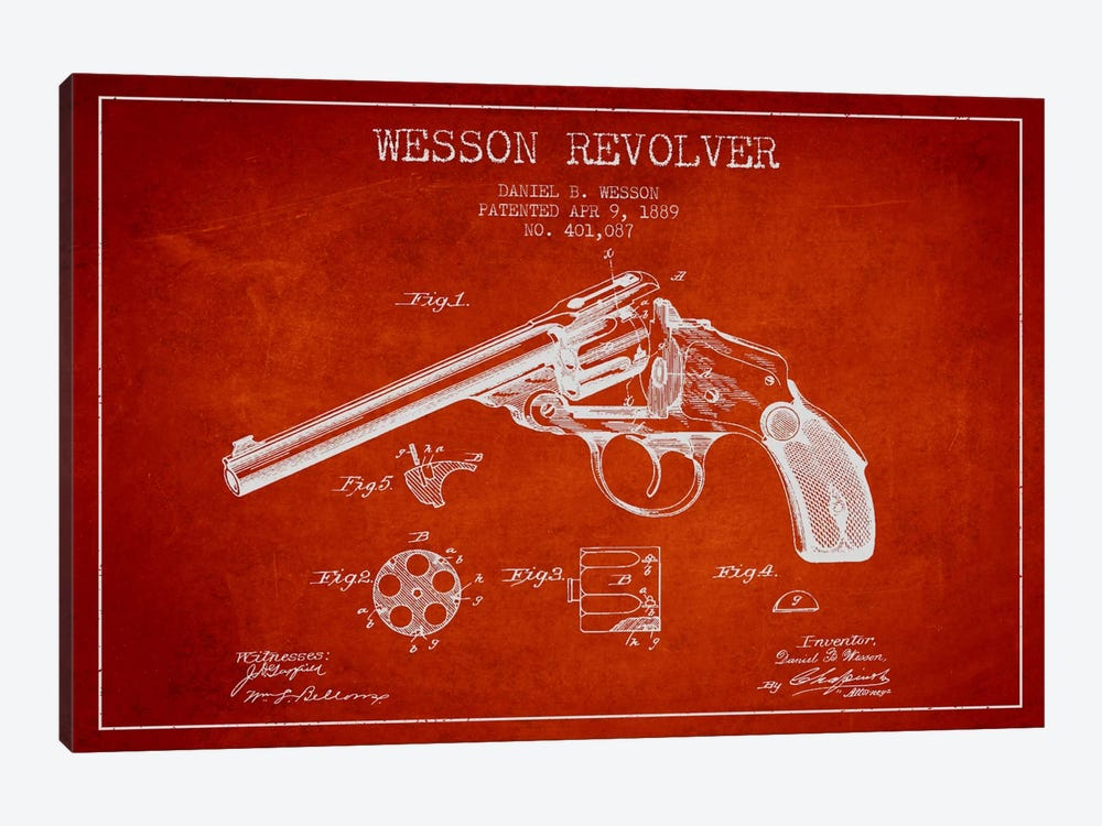 Wesson Revolver Red Patent Blueprint by Aged Pixel 1-piece Canvas Print