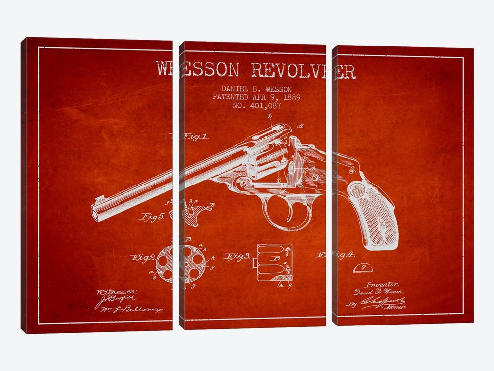 Wesson Revolver Red Patent Blueprint by Aged Pixel 3-piece Canvas Print