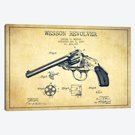 Wesson Revolver Vintage Patent Blueprint Canvas Print #ADP1313} by Aged Pixel Canvas Art