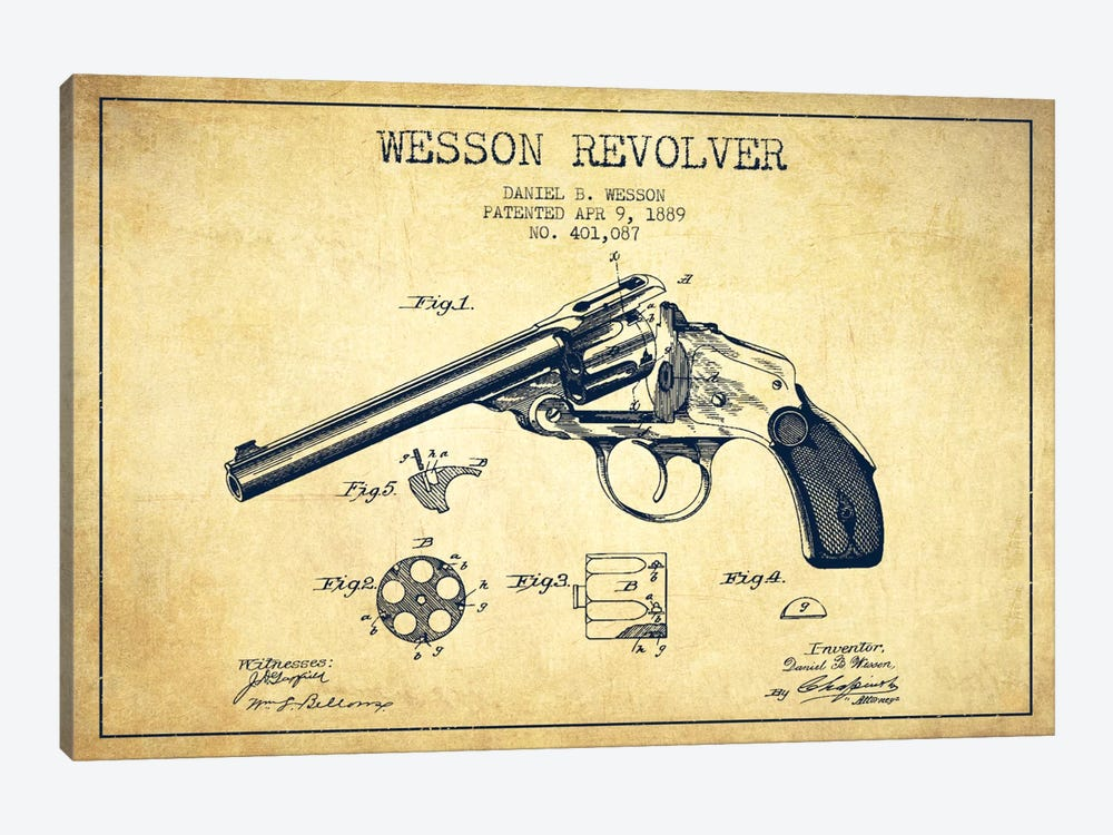 Wesson Revolver Vintage Patent Blueprint by Aged Pixel 1-piece Canvas Artwork