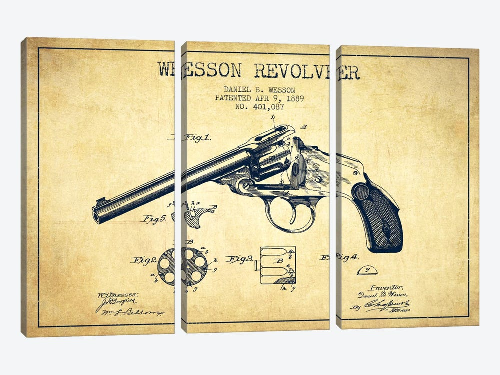 Wesson Revolver Vintage Patent Blueprint by Aged Pixel 3-piece Canvas Wall Art
