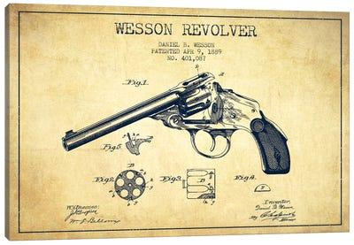 Wesson Revolver Vintage Patent Blueprint Canvas Art Print