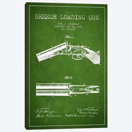 Burkhard Breech Gun Green Patent Blueprint Canvas Print #ADP1315} by Aged Pixel Art Print