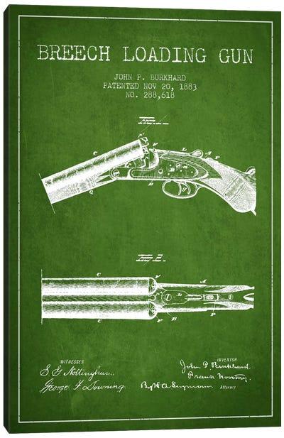 Burkhard Breech Gun Green Patent Blueprint Canvas Print #ADP1315