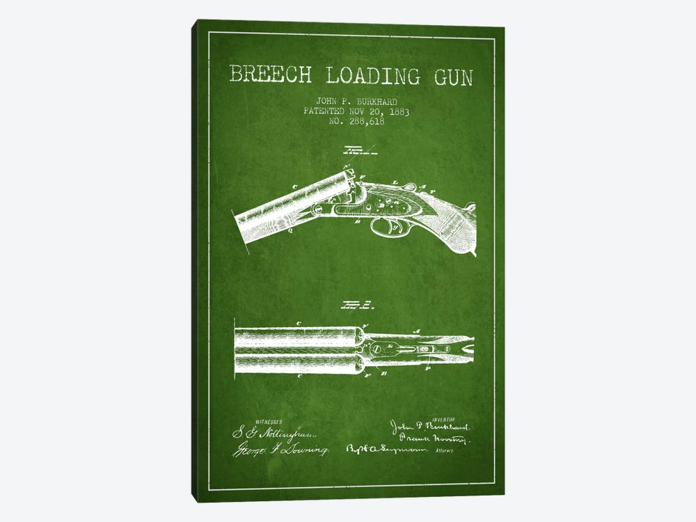 Burkhard Breech Gun Green Patent Blueprint by Aged Pixel 1-piece Canvas Art