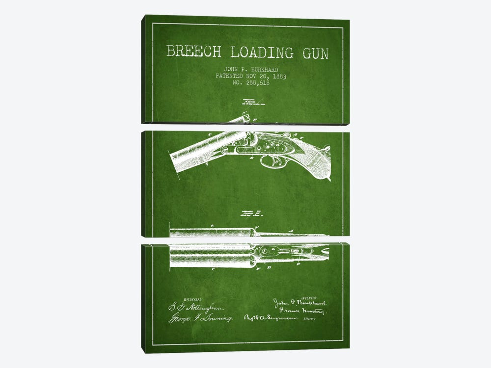Burkhard Breech Gun Green Patent Blueprint by Aged Pixel 3-piece Canvas Art