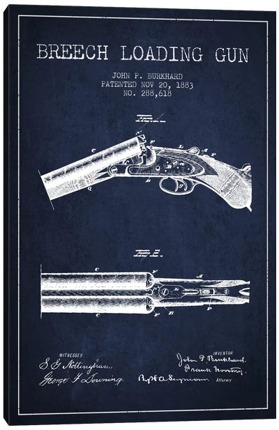Burkhard Breech Gun Navy Blue Patent Blueprint Canvas Art Print