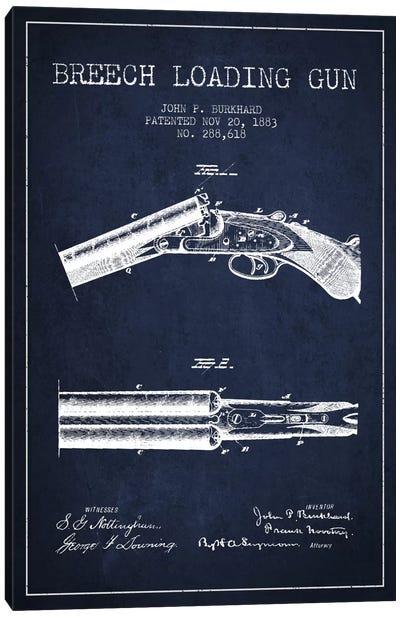 Burkhard Breech Gun Navy Blue Patent Blueprint Canvas Art Print