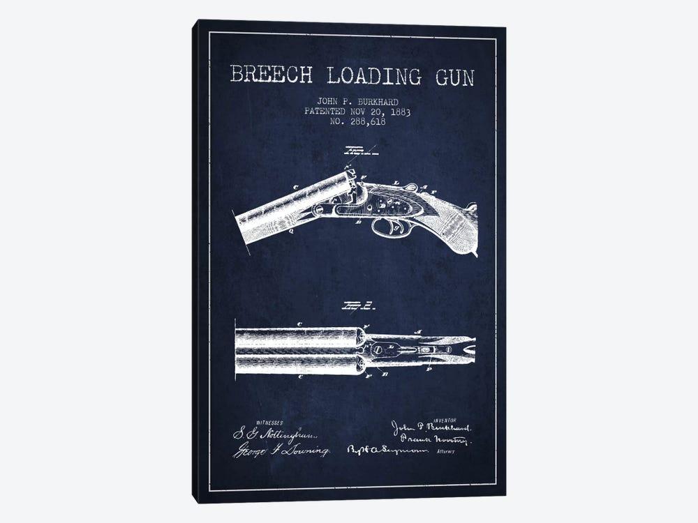 Burkhard Breech Gun Navy Blue Patent Blueprint by Aged Pixel 1-piece Canvas Art Print