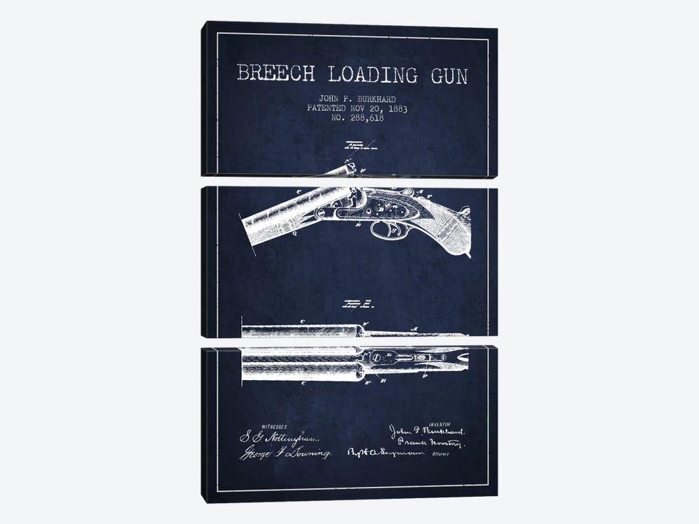 Burkhard Breech Gun Navy Blue Patent Blueprint by Aged Pixel 3-piece Art Print