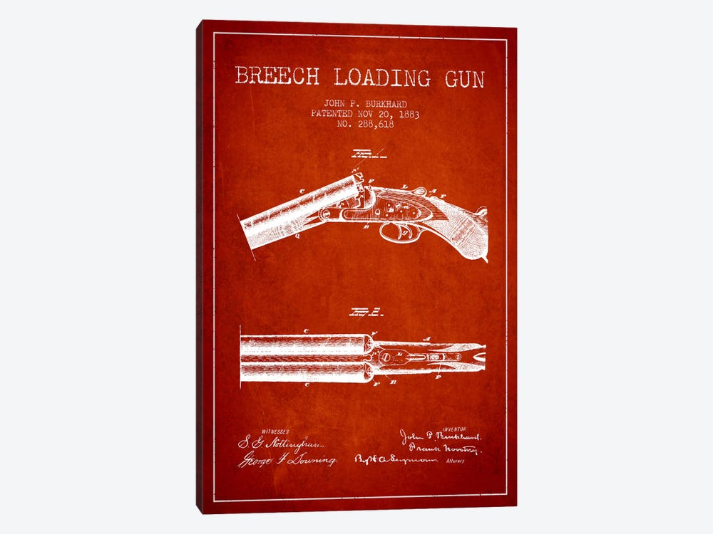 Burkhard Breech Gun Red Patent Blueprint by Aged Pixel 1-piece Canvas Artwork