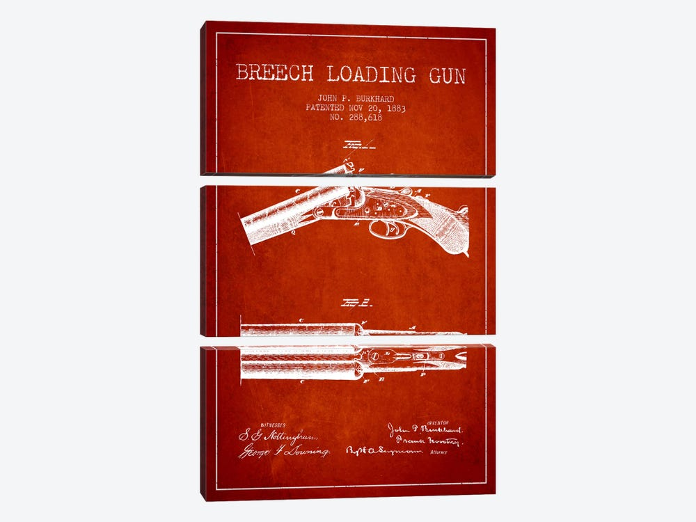 Burkhard Breech Gun Red Patent Blueprint by Aged Pixel 3-piece Canvas Wall Art