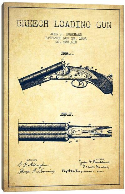 Burkhard Breech Gun Vintage Patent Blueprint Canvas Art Print