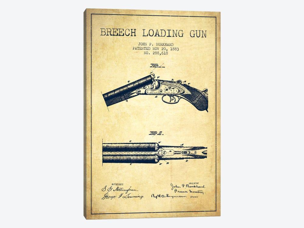 Burkhard Breech Gun Vintage Patent Blueprint by Aged Pixel 1-piece Canvas Print