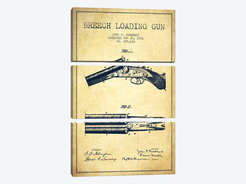 Burkhard Breech Gun Vintage Patent Blueprint by Aged Pixel 3-piece Canvas Print