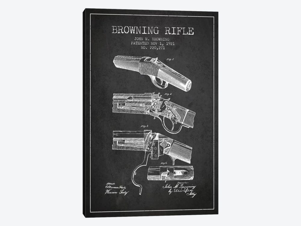 Browning Rifle Charcoal Patent Blueprint by Aged Pixel 1-piece Canvas Art