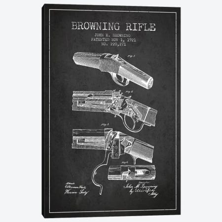 Browning Rifle Charcoal Patent Blueprint Canvas Print #ADP1319} by Aged Pixel Canvas Wall Art