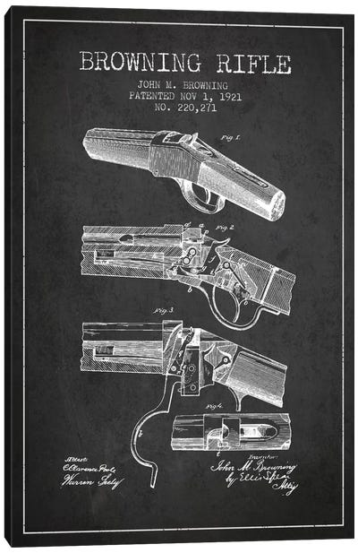 Browning Rifle Charcoal Patent Blueprint Canvas Art Print