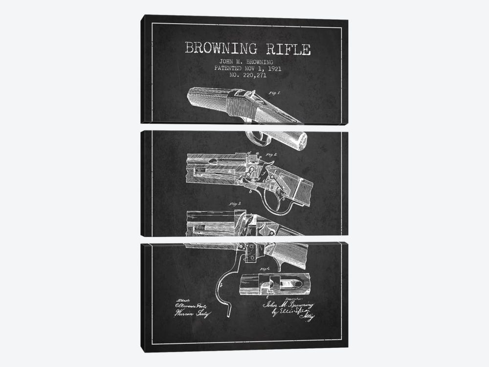 Browning Rifle Charcoal Patent Blueprint by Aged Pixel 3-piece Canvas Artwork