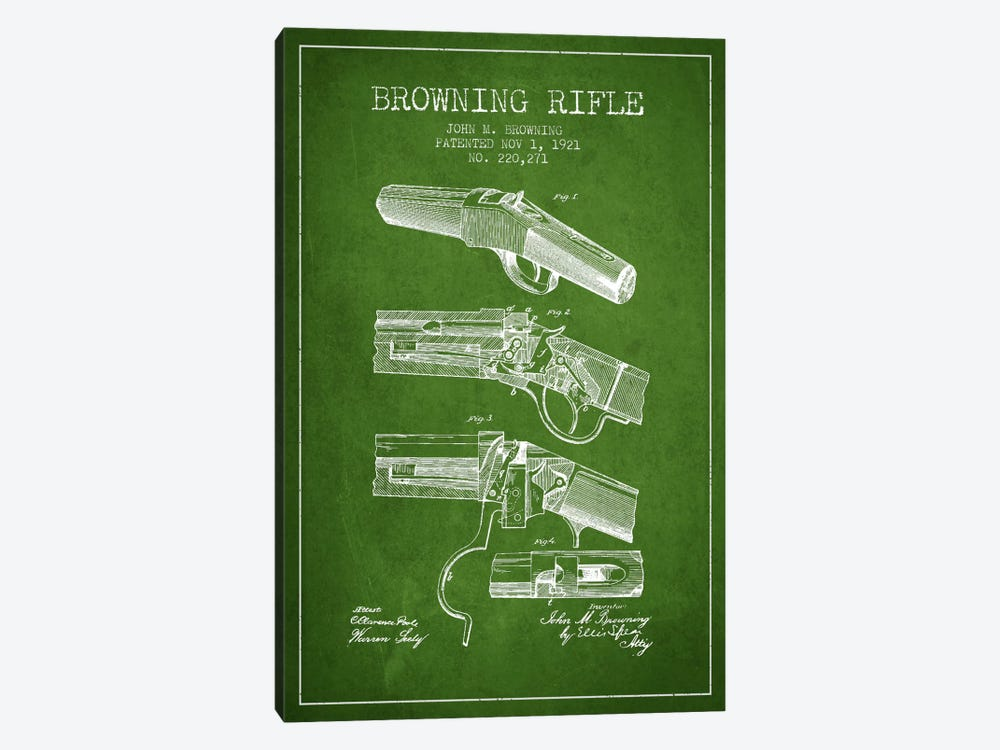Browning Rifle Green Patent Blueprint by Aged Pixel 1-piece Canvas Artwork