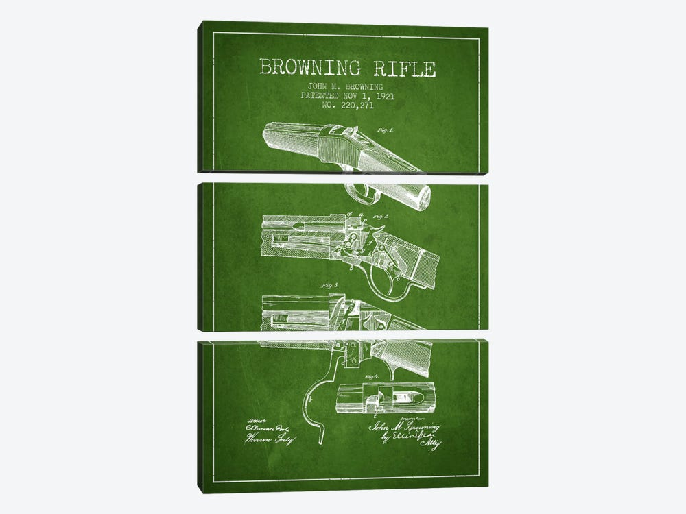Browning Rifle Green Patent Blueprint by Aged Pixel 3-piece Canvas Artwork