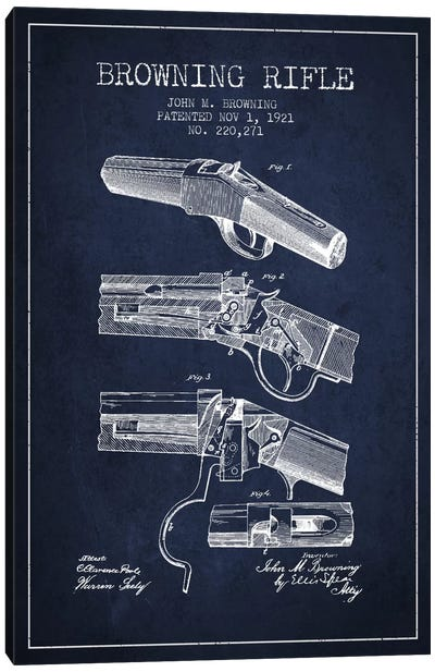 Browning Rifle Navy Blue Patent Blueprint Canvas Art Print