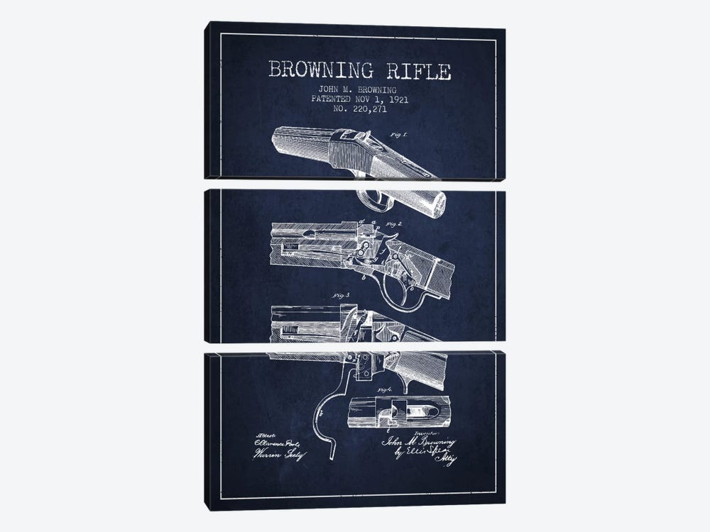 Browning Rifle Navy Blue Patent Blueprint by Aged Pixel 3-piece Canvas Art Print