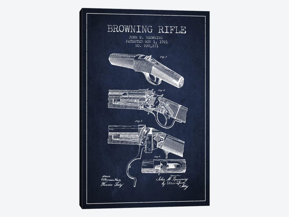 Browning Rifle Navy Blue Patent Blueprint by Aged Pixel 1-piece Canvas Print