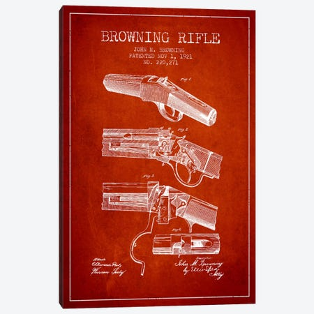 Browning Rifle Red Patent Blueprint Canvas Print #ADP1322} by Aged Pixel Canvas Print