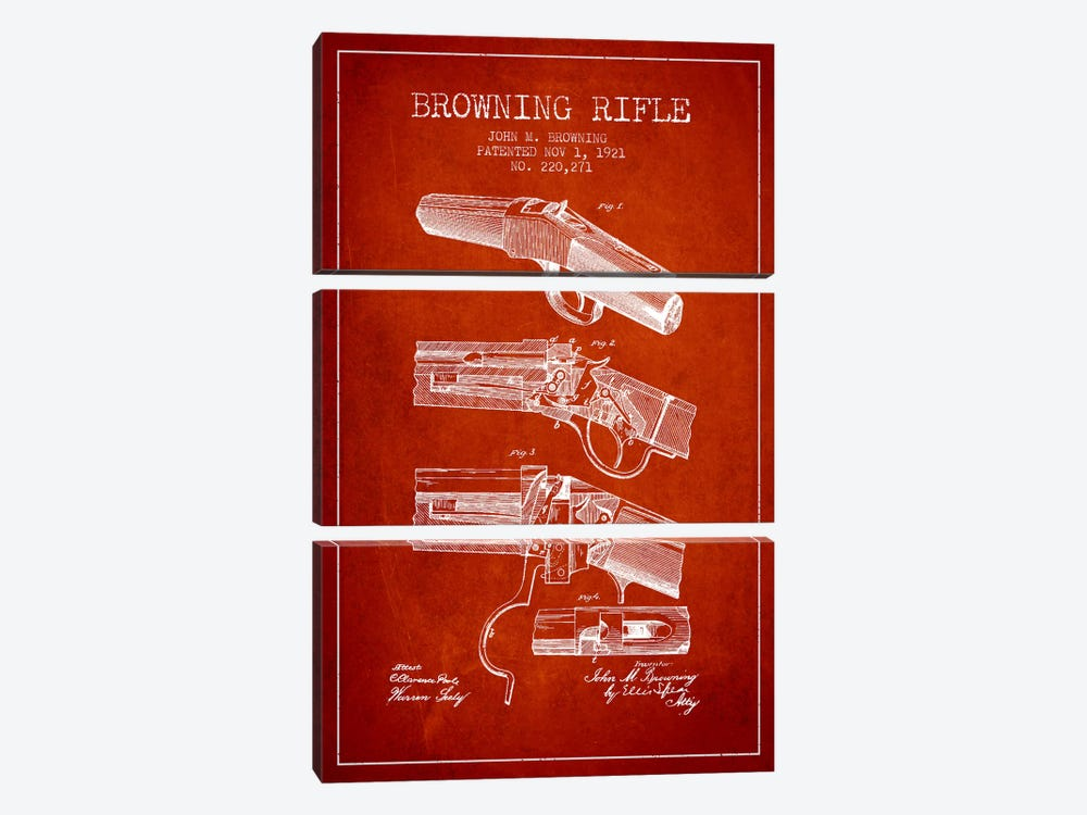 Browning Rifle Red Patent Blueprint by Aged Pixel 3-piece Canvas Art