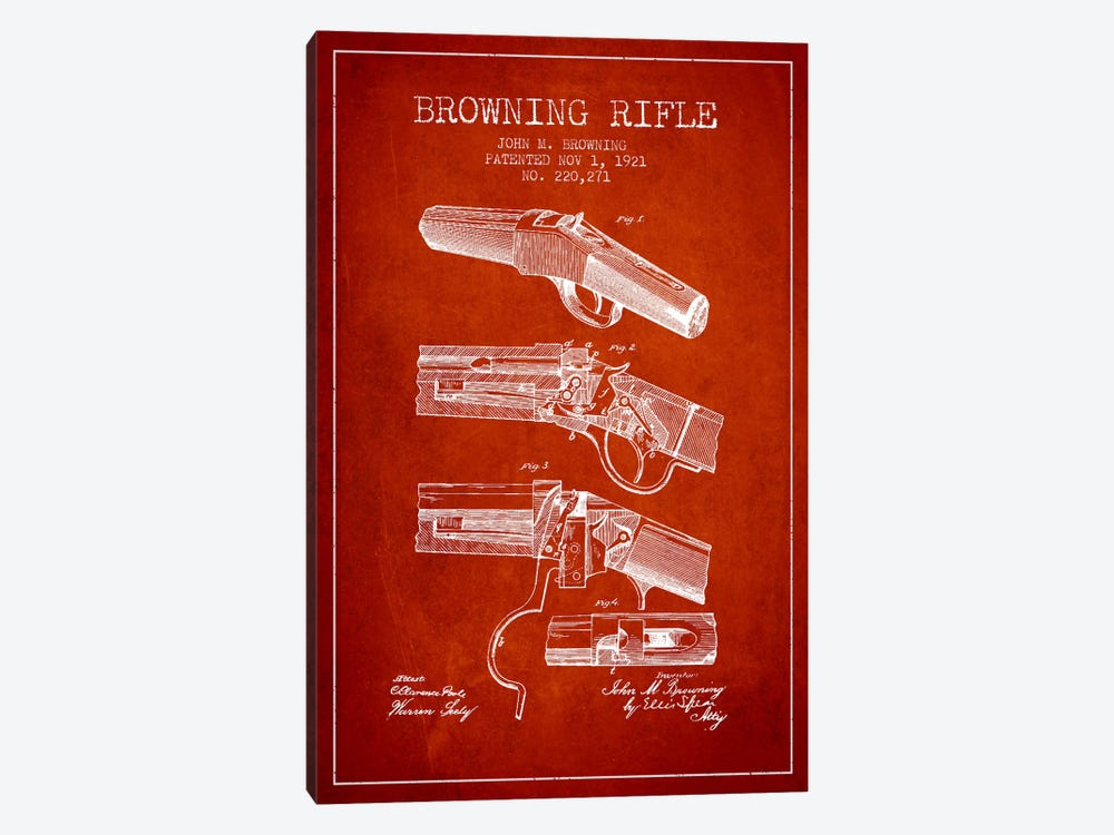 Browning Rifle Red Patent Blueprint by Aged Pixel 1-piece Canvas Wall Art